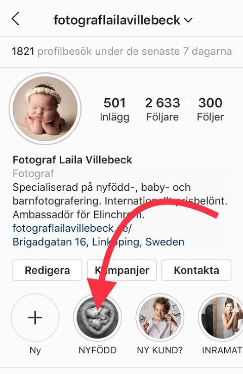 Bild på Instagramkontot för Fotograf Laila Villebeck som märker ut var mer information om nyföddfotografering finns att hämta