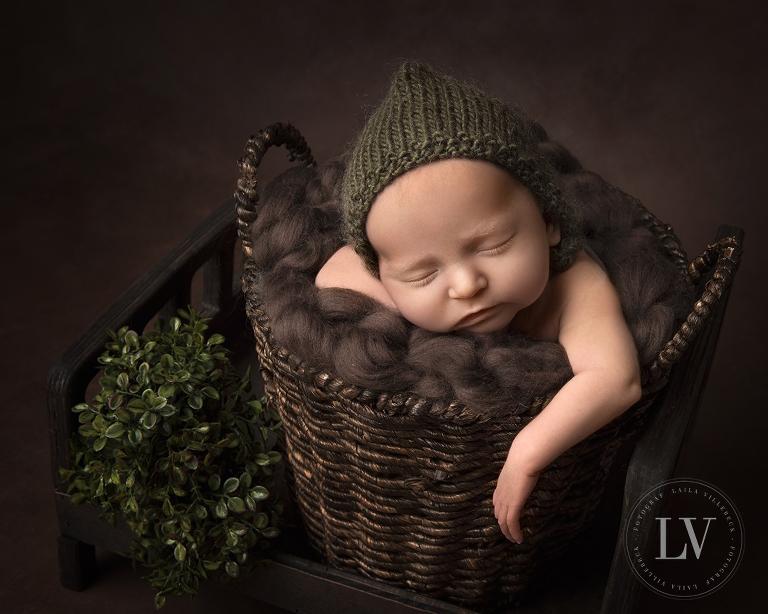 Nyfödd i en korg med gröna detaljer