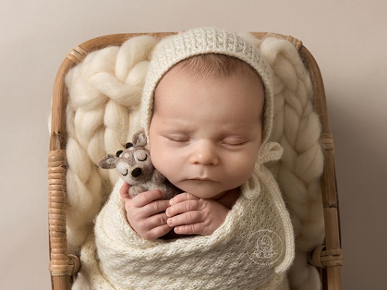 Ett nyföddporträtt där bebisen ligger i en korg. Han är inlindad och har mössa på huvudet. Han kramar om ett litet filtat gosedjur i formen av ett rådjur.