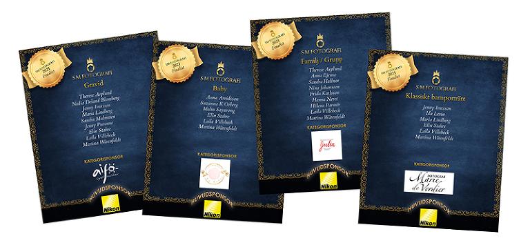 Fyra listor med finalister i SM 2021. Listorna presenterar de fotografer som kommit till final i kategorierna Gravid, Baby, Familj/Grupp samt Klassiskt Barnporträtt